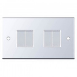 Selectric 5M Polished Chrome 4 Gang 10A 2 Way Switch with White Insert