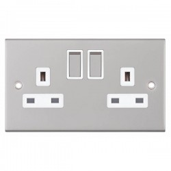 Selectric 5M Satin Chrome 2 Gang 13A DP Switched Socket with White Insert