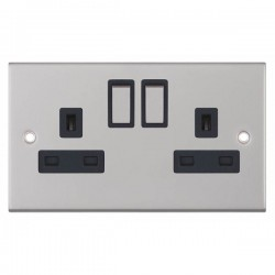 Selectric 5M Satin Chrome 2 Gang 13A DP Switched Socket with Black Insert