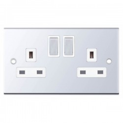 Selectric 5M Polished Chrome 2 Gang 13A DP Switched Socket with White Insert
