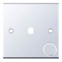 Selectric 5M Polished Chrome 1 Gang Single Aperture Dimmer Plate with Matching Knob