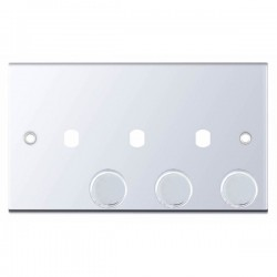 Selectric 5M Polished Chrome 2 Gang Triple Aperture Dimmer Plate with Matching Knobs