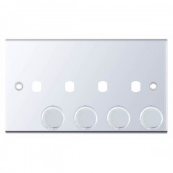 Selectric 5M Polished Chrome 2 Gang Quad Aperture Dimmer Plate with Matching Knobs