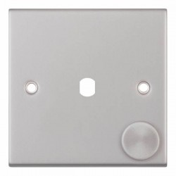 Selectric 5M Satin Chrome 1 Gang Single Aperture Dimmer Plate with Matching Knob