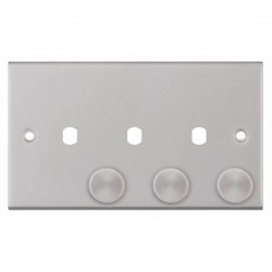 Selectric 5M Satin Chrome 2 Gang Triple Aperture Dimmer Plate with Matching Knobs