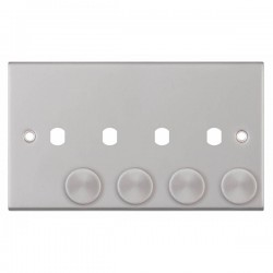 Selectric 5M Satin Chrome 2 Gang Quad Aperture Dimmer Plate with Matching Knobs
