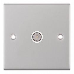 Selectric 5M Satin Chrome 1 Gang TV Socket with White Insert