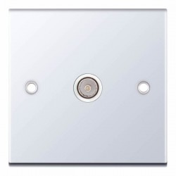 Selectric 5M Polished Chrome 1 Gang TV Socket with White Insert