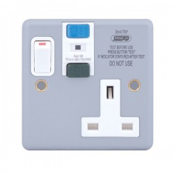 Selectric Metal Clad 1 Gang 13A DP Switched RCD Socket