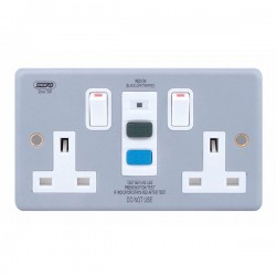 Selectric Metal Clad 2 Gang 13A DP Switched RCD Socket