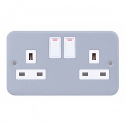 Selectric Metal Clad 2 Gang 13A DP Switched Socket