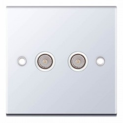 Selectric 5M Polished Chrome 2 Gang TV/FM Socket with White Insert