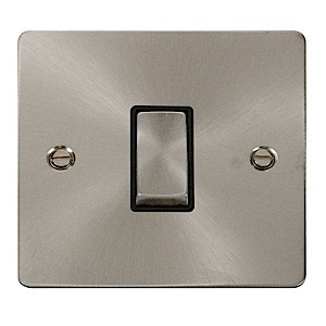Click Define Brushed Steel Flat Plate Single Light Switch with Black Insert