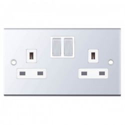 Selectric 5M Polished Chrome 2 Gang 13A Switched Socket with White Insert