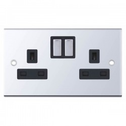 Selectric 5M Polished Chrome 2 Gang 13A Switched Socket with Black Insert