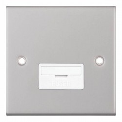 Selectric 5M Satin Chrome 13A Fused Connection Unit with White Insert