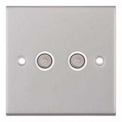 Selectric 5M Satin Chrome 2 Gang TV/FM Socket with White Insert