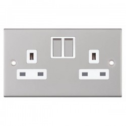 Selectric 5M Satin Chrome 2 Gang 13A Switched Socket with White Insert