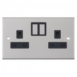 Selectric 5M Satin Chrome 2 Gang 13A Switched Socket with Black Insert