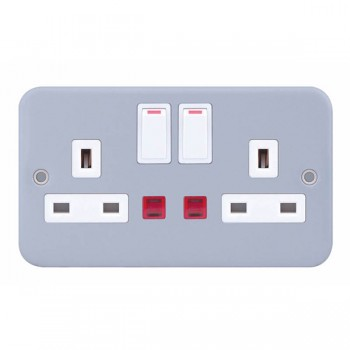 Selectric Metal Clad 2 Gang 13A DP Switched Socket with Neon
