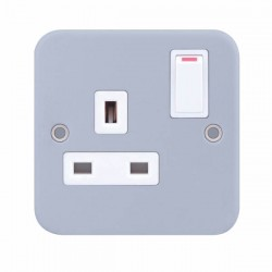 Selectric Metal Clad 1 Gang 13A DP Switched Socket