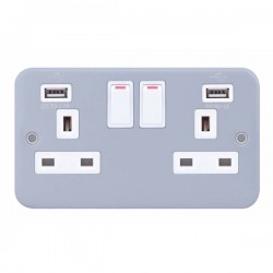 Selectric Metal Clad 2 Gang 13A Switched Socket with USB Outlet