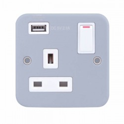 Selectric Metal Clad 1 Gang 13A Switched Socket with USB Outlet