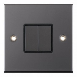 Selectric 5M Black Nickel 2 Gang 10A 2 Way Switch with Black Insert