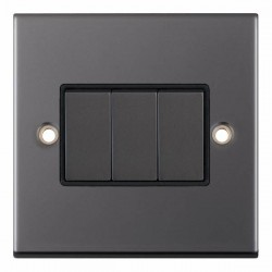 Selectric 5M Black Nickel 3 Gang 10A 2 Way Switch with Black Insert