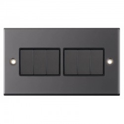 Selectric 5M Black Nickel 6 Gang 10A 2 Way Switch with Black Insert