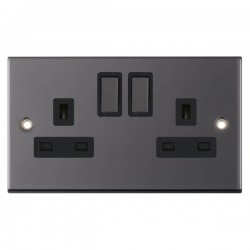 Selectric 5M Black Nickel 2 Gang 13A DP Switched Socket with Black Insert