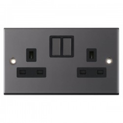 Selectric 5M Black Nickel 2 Gang 13A Switched Socket with Black Insert