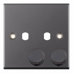 Selectric 5M Black Nickel 1 Gang Twin Aperture Dimmer Plate with Matching Knobs