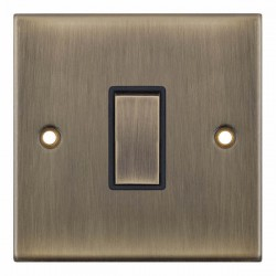 Selectric 5M Antique Brass 1 Gang 10A 2 Way Switch with Black Insert