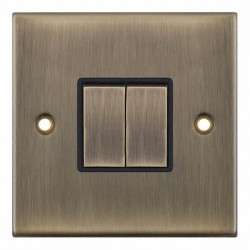 Selectric 5M Antique Brass 2 Gang 10A 2 Way Switch with Black Insert
