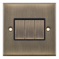 Selectric 5M Antique Brass 3 Gang 10A 2 Way Switch with Black Insert