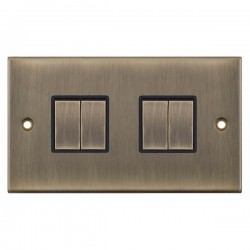 Selectric 5M Antique Brass 4 Gang 10A 2 Way Switch with Black Insert