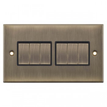 Selectric 5M Antique Brass 6 Gang 10A 2 Way Switch with Black Insert