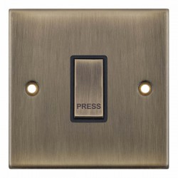 Selectric 5M Antique Brass 1 Gang 10A Push to Make Switch with Black Insert