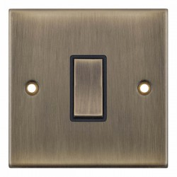 Selectric 5M Antique Brass 1 Gang 10A Intermediate Switch with Black Insert