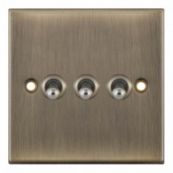 Selectric 5M Antique Brass 3 Gang 10A 2 Way Toggle Switch