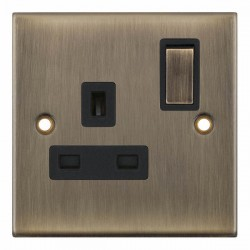 Selectric 5M Antique Brass 1 Gang 13A DP Switched Socket with Black Insert