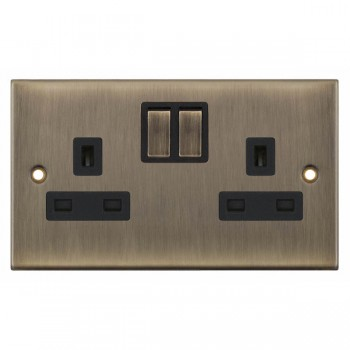 Selectric 5M Antique Brass 2 Gang 13A Switched Socket with Black Insert