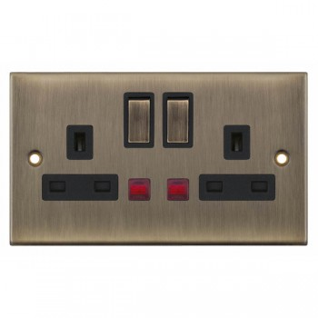 Selectric 5M Antique Brass 2 Gang 13A DP Switched Socket with Neon and Black Insert