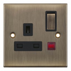 Selectric 5M Antique Brass 1 Gang 13A DP Switched Socket with Neon and Black Insert