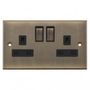 Selectric 5M Antique Brass 2 Gang 13A DP Switched Socket with Black Insert