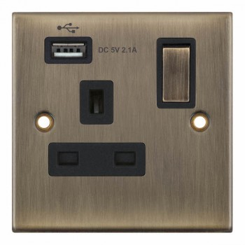 Selectric 5M Antique Brass 1 Gang 13A Switched Socket with USB Outlet and Black Insert