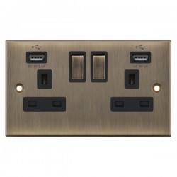 Selectric 5M Antique Brass 2 Gang 13A Switched Socket with USB Outlet and Black Insert