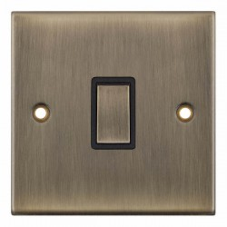 Selectric 5M Antique Brass 1 Gang 20A DP Switch with Black Insert