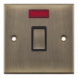 Selectric 5M Antique Brass 1 Gang 20A DP Switch with Neon and Black Insert